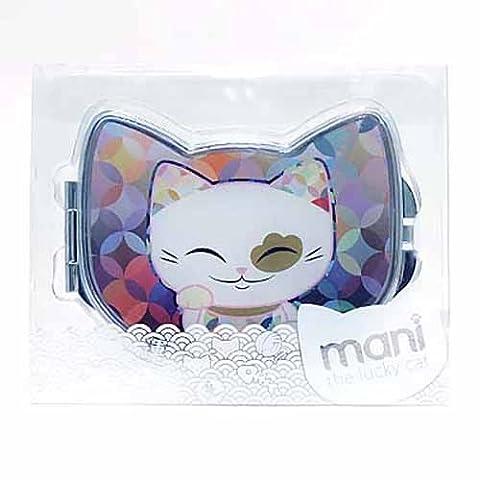Miroir de sac forme chat porte bonheur Mani the Lucky Cat multicolore