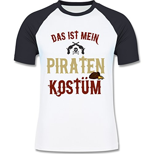 Shirtracer Karneval & Fasching - Das ist Mein Piraten Kostüm - Herren  Baseball Shirt Weiß/