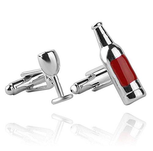 Leisial™ Gemelos de Acero Inoxidable Forma de Botella de vino Sencillo Botones de la Joyería para Accesorios de la Camisa de Hombre Mujer 1 Par