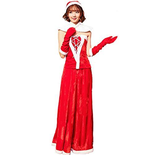 QQWE Frauen Weihnachtsmann Kostüm Ärmellos Schulterfrei Weihnachtskleid Langen Rock Santa Claus Kostüm Weihnachtsfeier Cosplay Kostüm,Red-OneSize