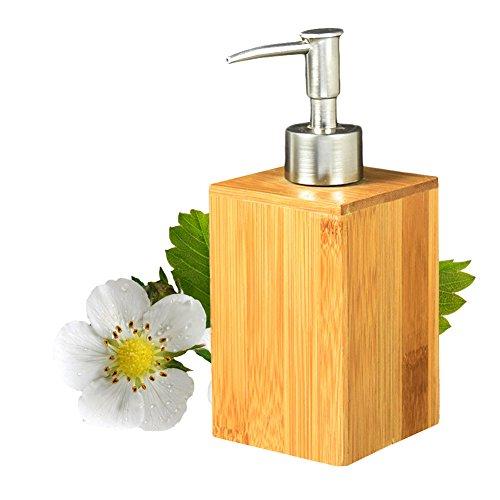 Jabón de bambú cuadrado de la madera y dispensador de la loción Botella de desinfección de la mano del baño