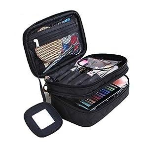 Kosmetiktasche, ONEGenug MakeUp Tasche, Schminktasche Kosmetikbeutel 20*12*8 cm Doppelschicht mit Spiegel für Damen schwarz
