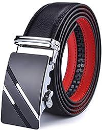 DCFlat Ceinture pour hommes, ceinture à cliquet en cuir pour hommes, avec  curseur, 20ffea9f731