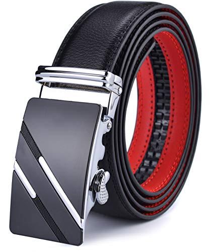 DCFlat Herren-Gürtel, verstellbare Schnalle, Ledergürtel für große und große Männer Gr. 35mm Breit Ledergürtel, X-Large (Länge 125cm Geeignet für 37-43 taille, Black.12)