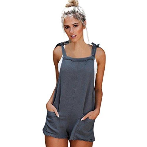se Jumpsuits Hotpants Shorts Kurze Hose Sommer Mode Damen Overall Einfarbig Ärmellos Bodysuit (S, Blau) (Leder Gesicht Kostüm)