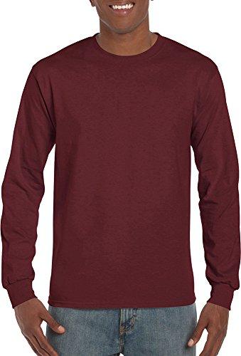 Gildan Men Ultra Cotton Crewneck Langarm T-Shirt eng gestrickt Ribb Bündchen Schwarz - Schwarz
