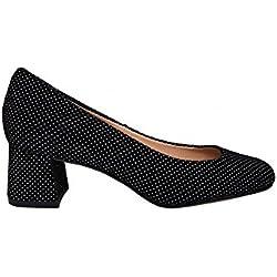 GENNIA HOLGA Negro Lunares Blancos - Salones para Mujer de Piel Ante y con Tacón Ancho de 5 cm, Talla 39