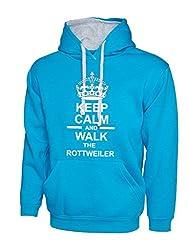 Keep Calm And Walk The Rottweiler Dog Sapphire Blue Contrast Hoody