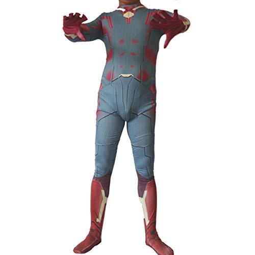 QQWE Vision Cosplay Kostüm, Herren Battle Kostüm, Marvel Superheld Kostüm, Zentai Adult Kinder Weihnachten Halloween Bodysuit - Vision Marvel Kostüm