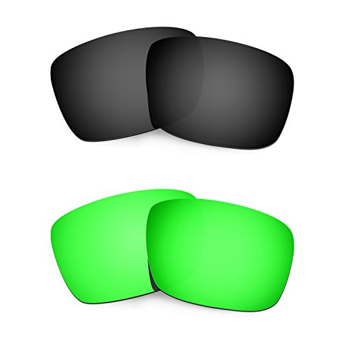HKUCO Plus Mens Replacement Lenses For Oakley Fuel Cell Black/Emerald Green Sunglasses