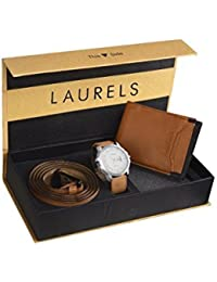 Laurels Men's Combo of Leather Wallet, Watch and Belt (White)
