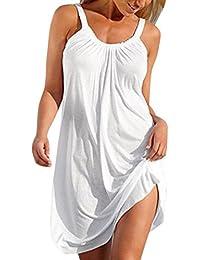 Mujer Blusa,Sonnena ❤ ❤ Sexy off hombro Color sólido sin manga lace blusa con tirantes cuello-V para mujer y…