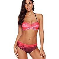 2ab7d515875 SAMGU Rosso Pendenza Stampare Capestro a Fascia Bikini Set Push Up Donna  Costumi da Bagno