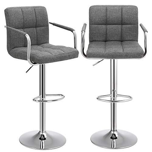 SONGMICS Barhocker 2er Set, höhenverstellbare Barstühle, Barstuhl mit Leinen-Bezug, 360° Drehstuhl, Küchenstühle mit Rückenlehne, Armlehnen und Fußstütze, verchromter Stahl, dunkelgrau LJB13GYZ
