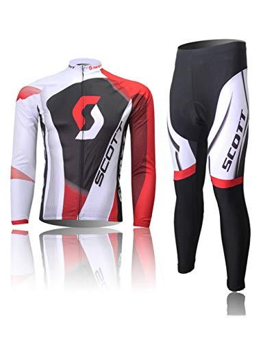 Fonly Männer und Frauen Jersey Langarm Anzug Mountain Bike Radfahren Shorts ausgestattet Fahrradkleidung Radfahren Jersey (Color : W, Size : XL:(170-180cm)(72-80kg))