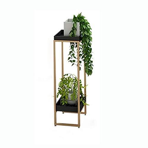 ZXL Gartenbau-Regal, zweidimensionales doppelstöckiges Pflanzenregal, Kombinations-Blumentopfständer aus Eisen und massivem Holz Modernes Blumenregal (Farbe: Schwarz, Größe: Kombinations-Dreitei