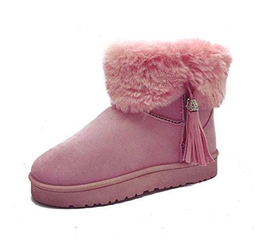 KUKI Scarpe da donna, Stivali da donna, Stivaletti per stivali da neve, Scarpe invernali, Suola spessa, Velluto più, Caldo, Stivaletti, Moda, Casual, Sport pink