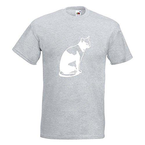 KIWISTAR - Katze sitzend Cat T-Shirt in 15 verschiedenen Farben - Herren Funshirt bedruckt Design Sprüche Spruch Motive Oberteil Baumwolle Print Größe S M L XL XXL Graumeliert