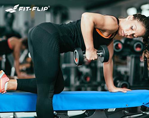 3-tlg Fitness-Handtuch Set mit Reißverschluss Fach + Magnetclip + extra Sporthandtuch   zum Patent angemeldetes Multifunktionshandtuch, Fit-Flip Microfaser Handtuch (gelb) - 8
