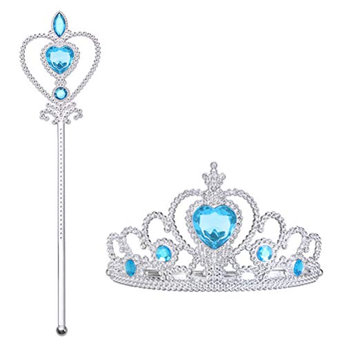 Dress Up Frozen Kostüm - Vicloon Prinzessin ELSA die Schneekönigin Dress Up Accessoires - 2 Stück Geschenk-Set mit Strass Crown Zauberstab Blau