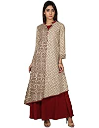 Missprint Hand Block Printed Indo Western Style Long Dress With Asymetrical Kurta