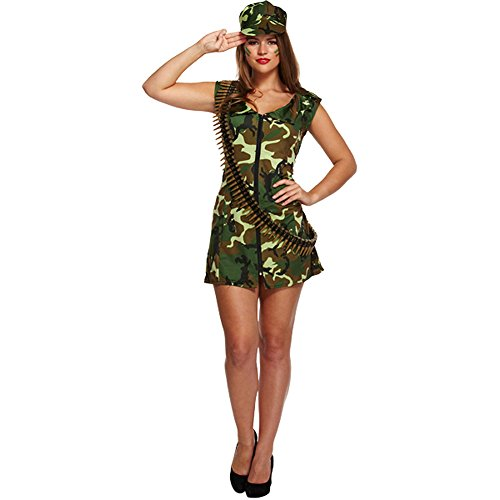 Sexy Army Girl Fancy Dress Kostüm (Camo) (Material Girl Fancy Dress Kostüm)