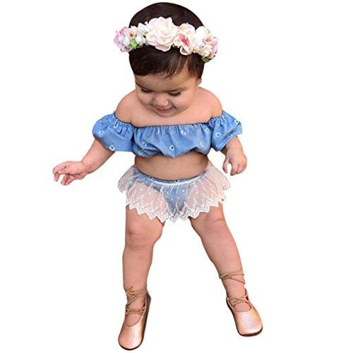 Bekleidungssets Hirolan Kleinkind Kinder Blumen T-Shirt Baby Mädchen Outfit Kleider Tops + Spitze Kurze Hose einstellen Frühling Krabbelhosen Schulterfrei Neugeborene Kleidung (80, Blau) (Baby-cool Bib)