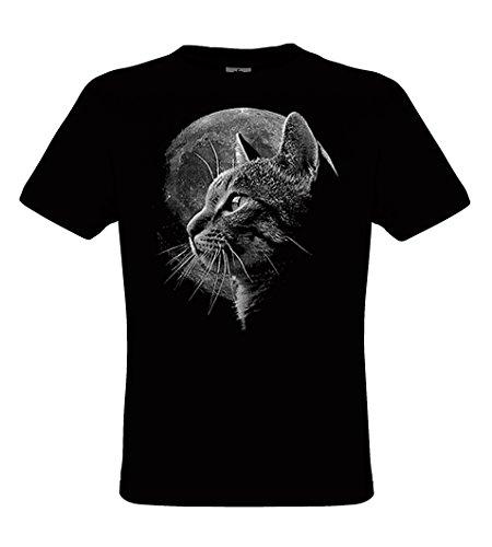 DarkArt-Designs Cat Moon - Katze mit Vollmond T-Shirt für Kinder und Erwachsene - Tiermotiv Shirt Haustier Wildtier Fun Party&Freizeit Lifestyle Regular Fit, Größe S, Schwarz (Mond T-shirt)