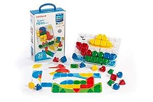 Miniland- Superpegs Mini (32 Piezas) -Primary Colors Pinchos para Pizarra de mosaicos Gigante (95083)