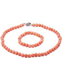 JYX Coral Collar 8 mm Rosa Coral Collar   Pulsera Set 3519692b20c