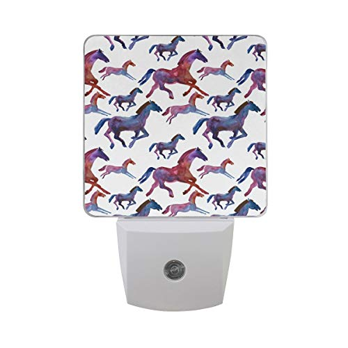 DFISKK Nachtlicht Set of 2 Watercolor Chinese Lunar New Year Horse Zodiac Silhouette Running Auto Sensor LED Dusk to Dawn Night Light Plug in Indoor for Adults