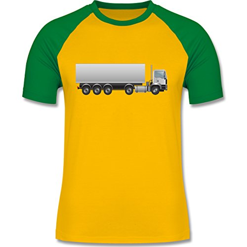 Andere Fahrzeuge - Sattelzug Sattel 40 Tonner - zweifarbiges Baseballshirt für Männer Gelb/Grün