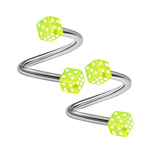 BanaVega 2 Caliber Spiral Stainless Steel Parts 16 5 / 16 8 mm 3 mm Dice Eyebrows Earrings Cartilage Piercing Jewelry See More Colors