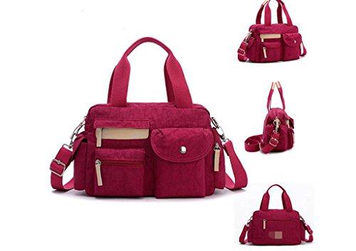 pacchetto piccolo quadrato di nylon, il sacchetto di singoli di spalla delle donne impermeabili, Miss Han Edition Messenger Bag Rose red