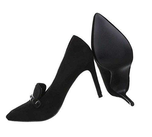Damen Pumps Schuhe High Heels Stiletto Abendschuhe Club Party Schwarz 35 36 37 38 39 40 41 Schwarz