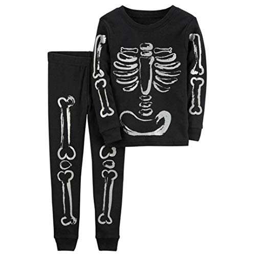 Riou Bekleidungssets Kinder Langarm Halloween Kostüm Top Set Baby Kleidung Set Kinder Baby Mädchen Jungen Knochen Skelette Tops Shirt Hosen 2 STÜCKE Outfits Set Kleidung (24M, Schwarz)