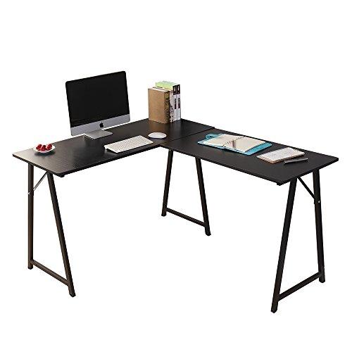 SogesHome Corner Desk Escritorio en Forma de L para computadora L(120+90) * W48 * H75 cm cm Escritorio Grande para Escritorio de Oficina,Negro,701T-BK-SH
