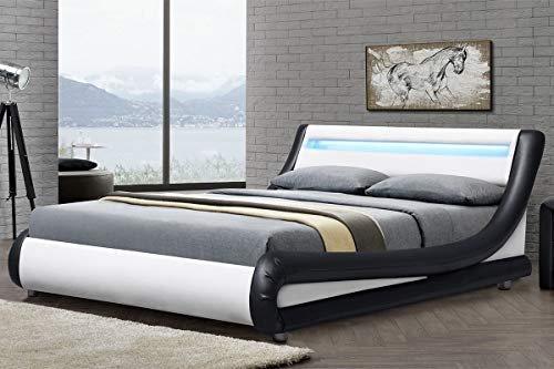 Sleep Design Barcelona LED Light Headboard Low Modern Double Bed Frame Black White Faux Leather