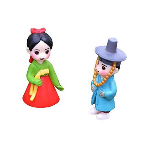 ely Couple Doll in Koreanisch Kostüm Fairy Garden Ornament Puppenhaus Blumentopf Figur DIY Craft für Garten Outdoor Home Decor 1 Paar, Kunstharz, Rot/Blau, 1.7 * 4.1cm ()