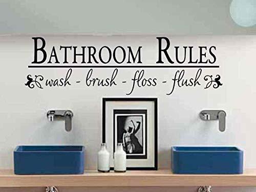 Tiukiu Bathroom Wall Decal Bathroom Rules Wash Brush Floss Flush Bath Room Wall Sticker Bath Room Rules Vinyl Lettering Wall Decor Kids Childs Bath Large Size -