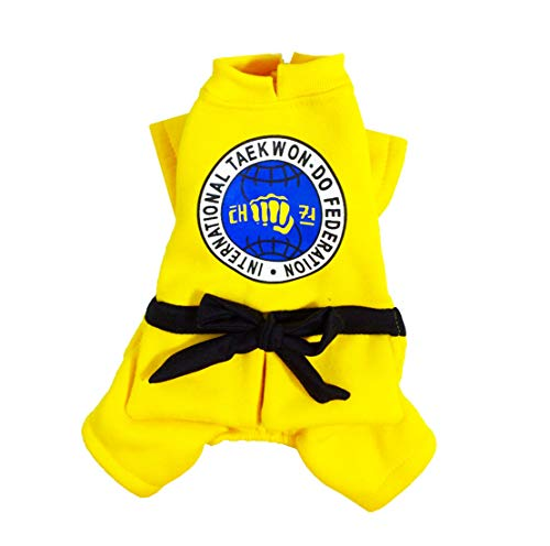 Mieel Haustier Kleidung Lovely Warme Pet Bekleidung Washed Bequemes Hunde Jumpsuit Festlich Kostüm Gi Puppy Kostüme Gemustert Baumwolle Roter Gelb Wintermäntel Sweatshirts (XL, Gelb)