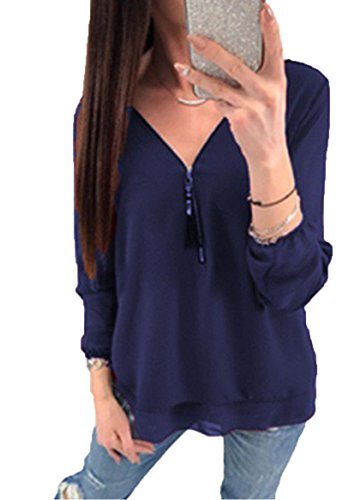 Flying Rabbit Damen Shirt Chiffon Bluse Langarmshirt mit Reißverschluss Vorne V-Ausschnitt Tops T-Shirt (S, Marine) (Marine-blau-prime T-shirt)