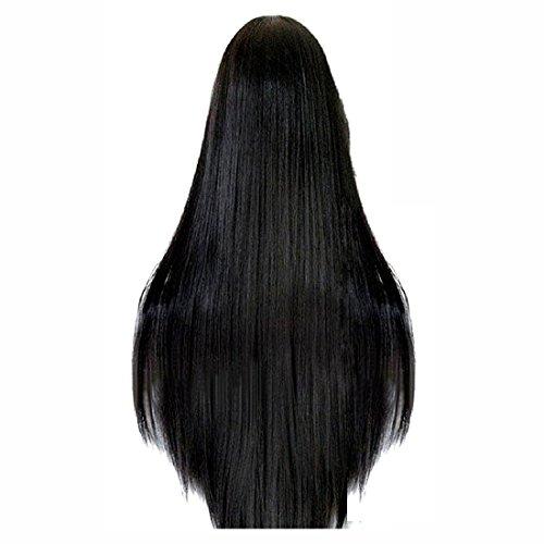 femmes perruque - TOOGOO(R)80cm Longue Ligne Droite Perruque Cosplay Multicolore Chaleur Pleines Perruques Resistants (Noir)