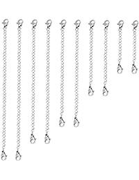 Naler 10x Extender Collier Chaîne en Argent pour Bracelet Chaîne, 2-6 pouces