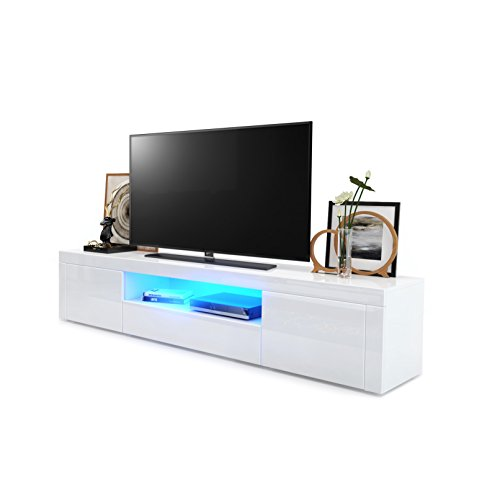 Meuble TV Armoire basse Santiago, Corps en Blanc haute brillance / Façades en Blanc haute brillance en Blanc haute brillance avec l'éclairage LED