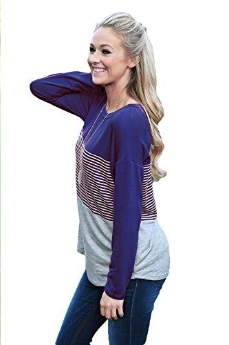 Junshan Femmes T-shirt Chemisier Blouse à Manches Longues Coutures couture rayé T-Shirt Tunique Top Blouse Hauts Casual Chic Mode Bleu