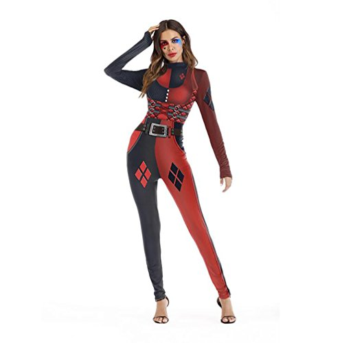 (SHANGXIAN Halloween Deadpool Kostüm Jumpsuits Catsuit Für Frauen Zurück Reißverschluss Cosplay Overalls,S/M)