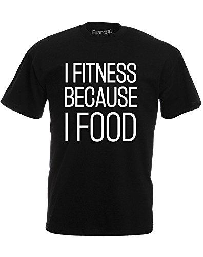 Brand88 - I Fitness Because I Food, Mann Gedruckt T-Shirt Schwarz/Weiß