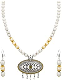 Aadita Ethnic Traditional Pearl Studded Collar Necklace Set With Earrings For Women And Girls