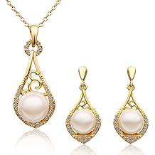 MARENJA Moda-Conjunto de Collar y Pendientes Mujer Gota Lágrima Chapado en Oro Cristal Perla